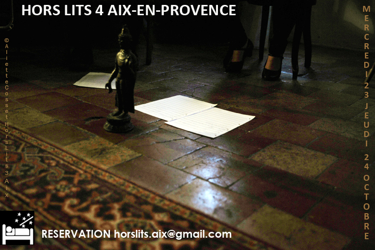 ©AlietteCosset, flyer Hors Lits 4 Aix en Provence, trio Haïku, performances en appartement