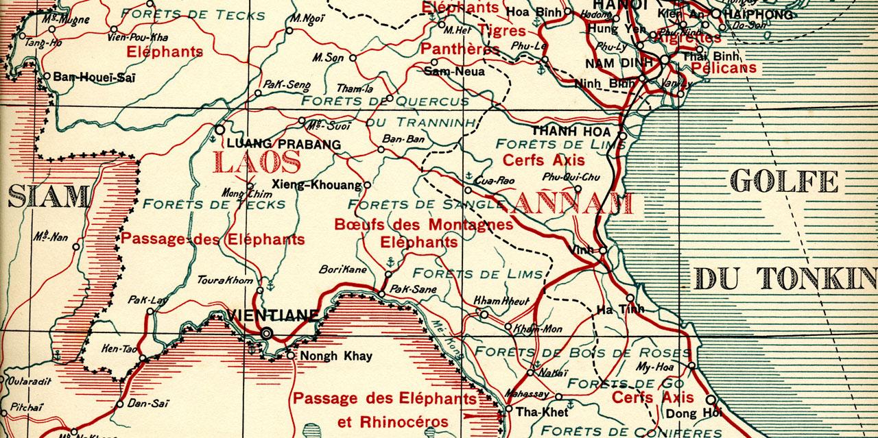 carte map laos elephant caravan